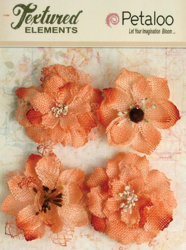 Petaloo Textured Elements Burlap Blossoms APRICOT