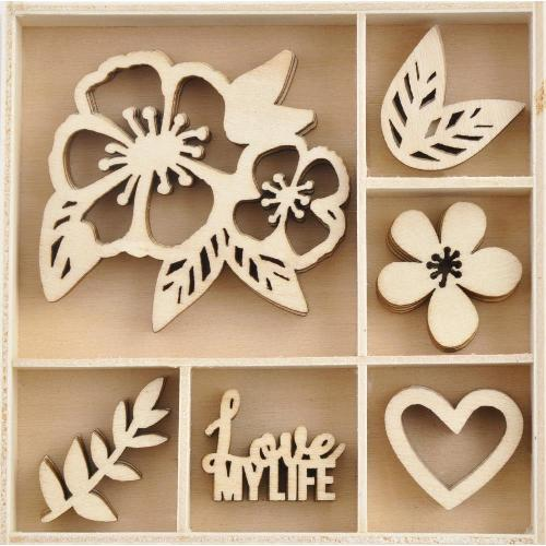 Kaisercraft FL644 Themed Mini Wooden Flourishes 50//Pkg-Love Life