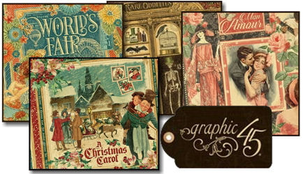 Graphic 45, scrapbook and card making papers, stamps and embellishments