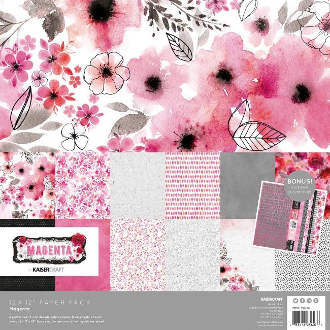 Kaisercraft Magenta Paper Pack (With Bonus Sticker Sheet)
