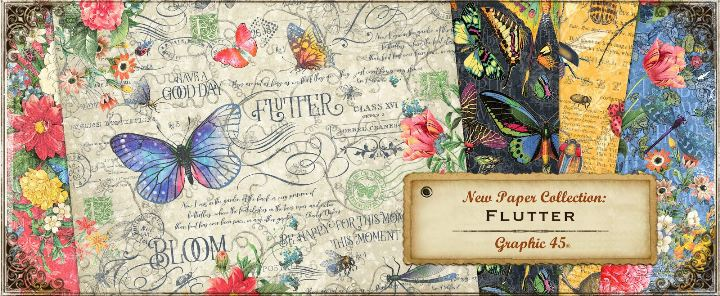 Graphic 45 Flutter Collection Tags /& Pockets Embellishments Butterflies