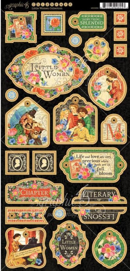 Graphic 45 Little Women Decorative Chipboard