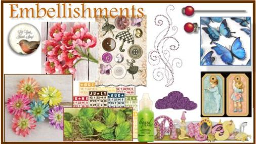 Craft Embellishments for card making and scrapbooking
