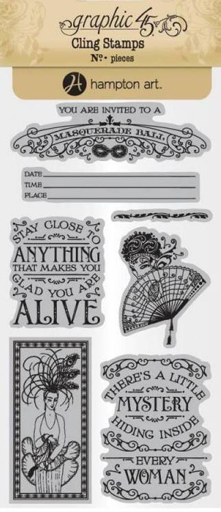 Graphic 45 Cling Stamps Midnight Masquerade 2-7 Stamp Set New
