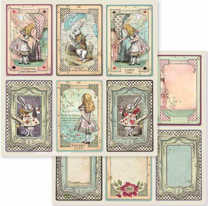 Stamperia Double-Sided Paper - ALICE CARDS