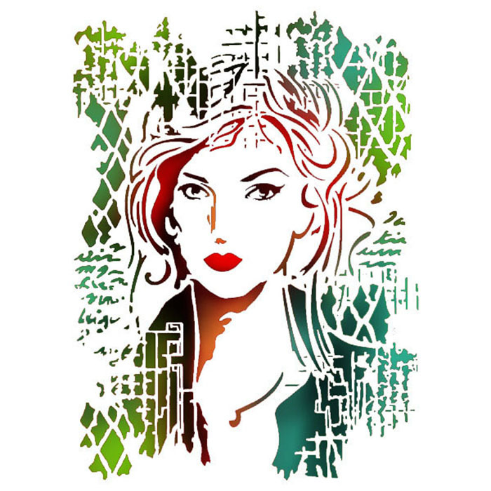 Stamperia Stencil A4 Woman Picture (KSG367)