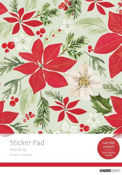 "Kaisercraft /'PEACE /& JOY/' 12x12/"" Sticker Sheet Christmas//Poinsettia KAISER"
